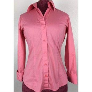 New York Company Stretch Top Pink Button Down Sz S